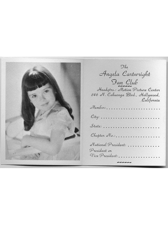 47 Angela Vintage Fan Club card Inside