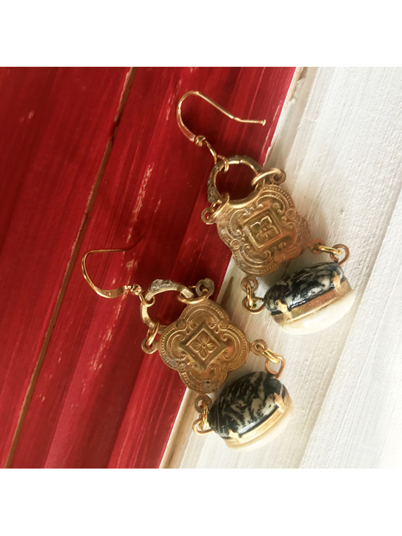 Agate and River Rock Totem Earrings