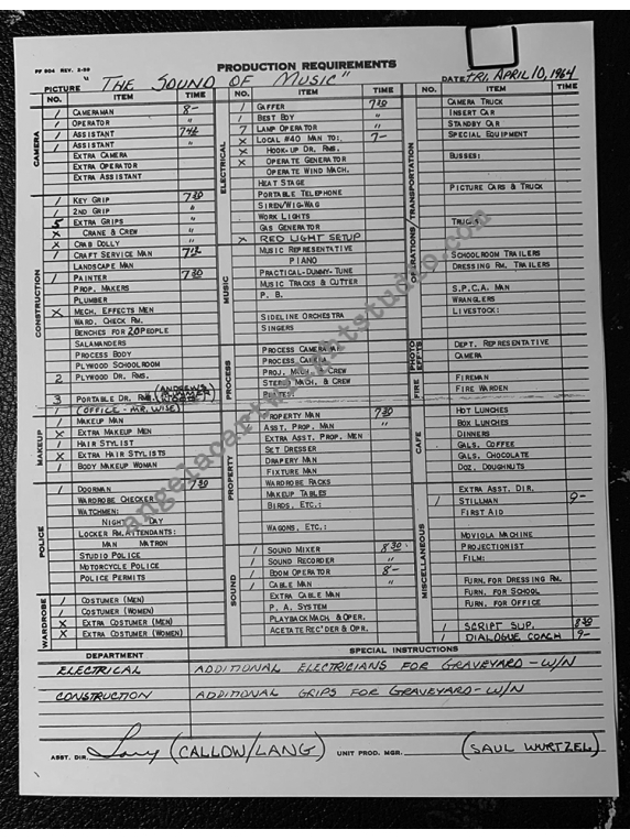 #132 Sound Of Music Call Sheet-Maria's Rm - Abbey