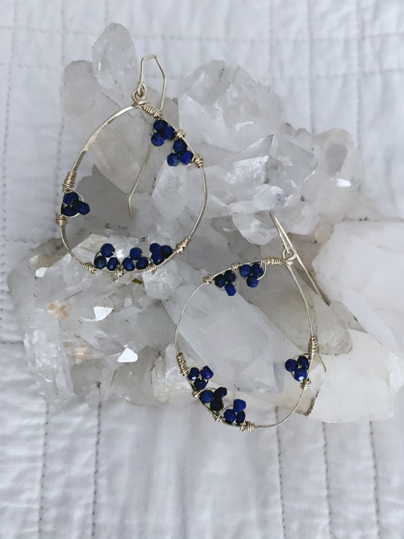 Full Moon Earrings - lapis lazuli