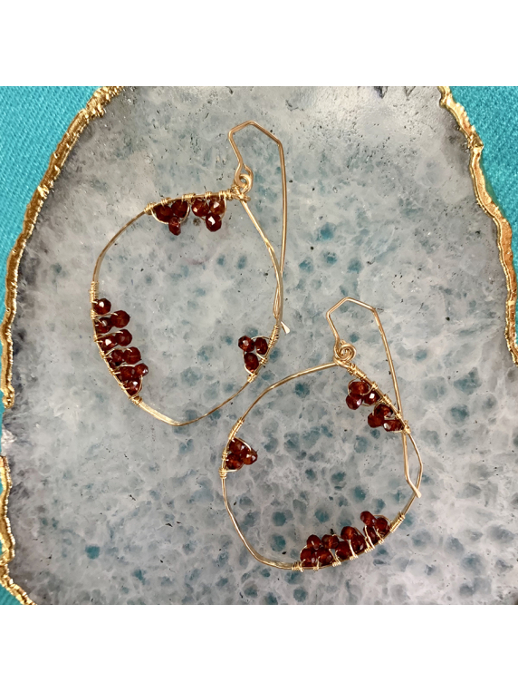 Full Moon Earrings - garnet