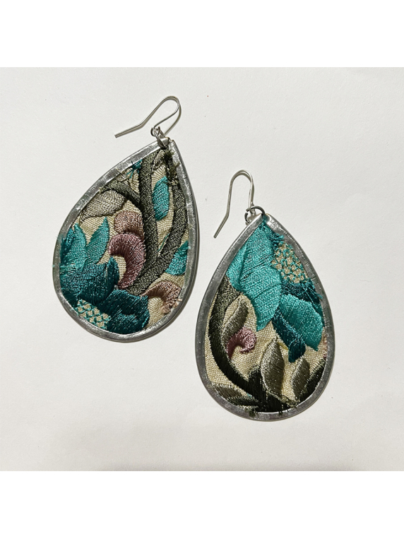 Boho Embroidered Turquoise Vine Earring