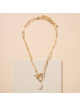 Pearl Toggle Charm Paperclip Necklace