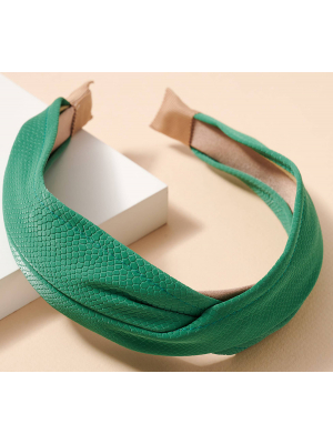 Croc Embossed Emerald Headband
