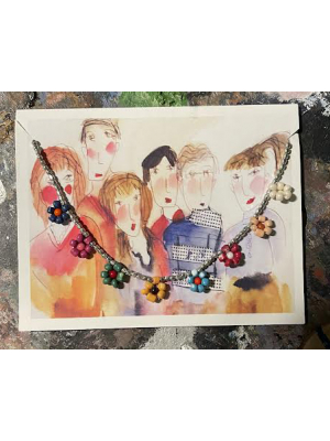 Flower Power Bead Anklet with art