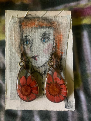Aster earrings & art