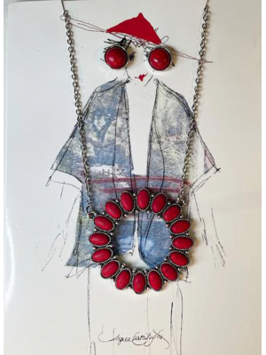Red West Necklace & earrings