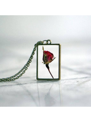 Rosebud Rectangular Necklace