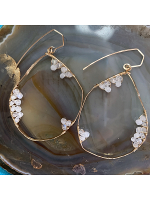 Full Moon Earrings - moonstone