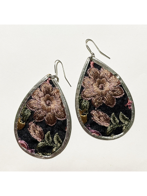 Boho Embroidered Soft Pink Earring