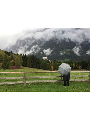 Do Re Mi mountain with Hohenwerfen Castle in the clouds